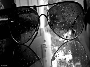Sunglasses with water droplets