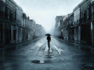 Lone man in the rain