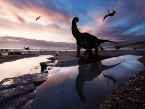 Dinosaurs on a beach