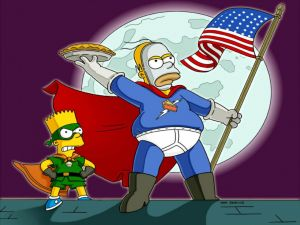 Homer and Bart, the avengers