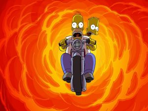 Homer and Bart on motorbike