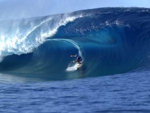 Inside a big blue wave