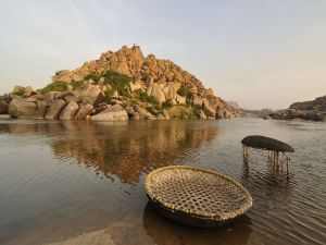 A pair of round boats in the river Tungabhadra (India)