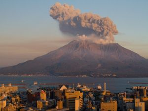 The Sakurajima, in Japan, one of the world's most active volcanoes