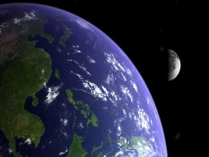 The planet Earth and the Moon