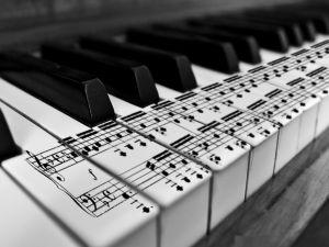 Piano keys with pentagram