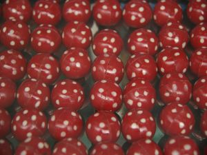 Red bonbons with white polka dots