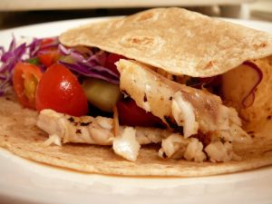 Crepe with fish and vegetables