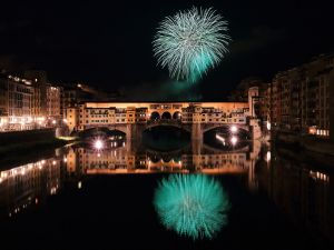 Fireworks over the Ponte Vecchio, Florence, Italy