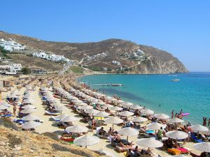 Beach on the Greek island of Mykonos