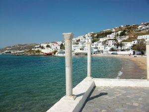 Columns on foot of beach, Mykonos, Greece