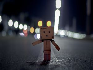 Danbo alone on a road