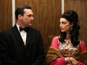 Don Draper and Megan in the elevator