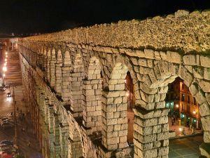 Night view of the Aqueduct of Segovia (Spain)