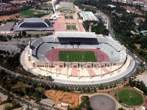 Aerial view of the Olympic Stadium Lluís Companys