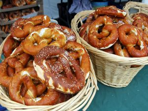 Baskets with pretzels, baked breads typical German