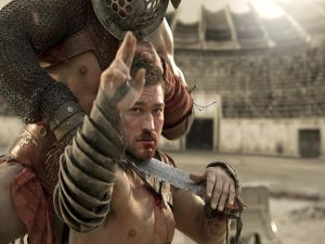 Spartacus asking the surrender in the sand