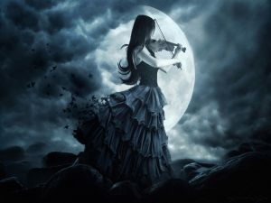 Gothic girl playing the violin