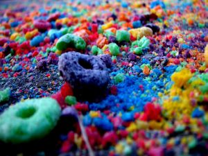 Crushed colored cereals