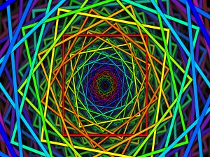 Colorful squares forming a spiral