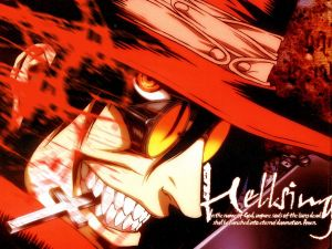 Hellsing biting a cross