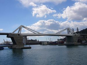 """Porta Europa"" Bridge in the port of Barcelona"