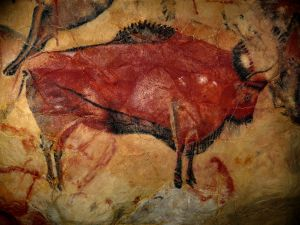Painting of a bison of the Altamira Cave