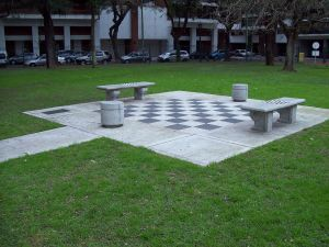 Giant chess on the floor, a gift from Germany to Argentina