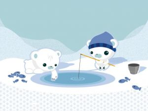 Little bears fishing