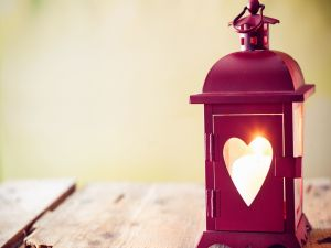 Lantern with a heart shaped window