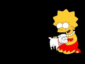 Lisa Simpson with a sheep