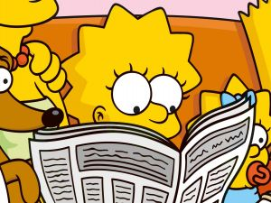 Lisa Simpson reading the newspaper