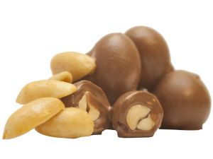 Peanuts coated with chocolate