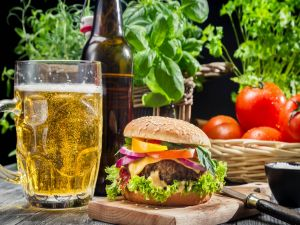 Hamburger with a beer mug