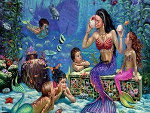 A school of mermaids in the sea floor