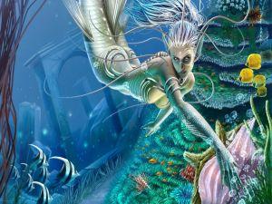 Mermaid on the seabed