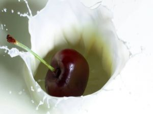 Cherry in milk