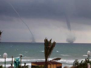 Two tornadoes at sea