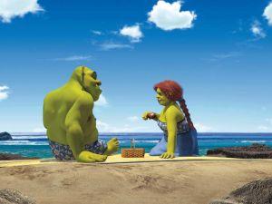 Shrek and Fiona on the beach