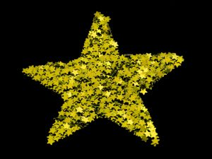 Golden big star formed by smaller stars