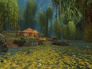 Cabin on river shore