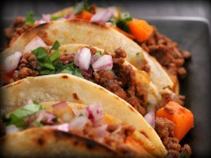 Tacos with beef and onions