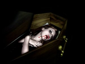 Vampiress in his coffin