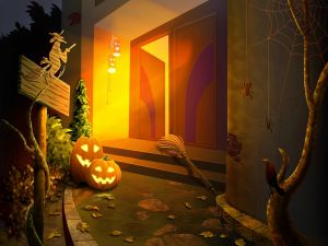 An open door on Halloween night