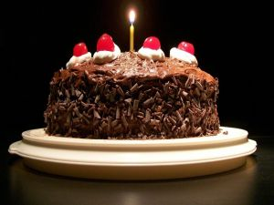 Chocolate cake with a candle