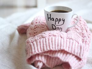"Cup of coffee to have a ""happy day"""