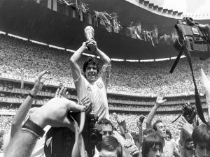 Maradona lifting the cup of world champions