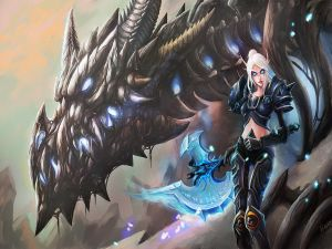 Warrior with her dragon