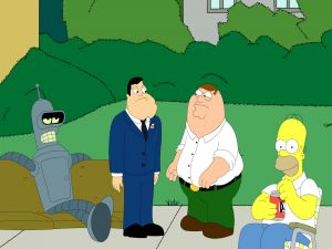Bender, Stan, Peter Griffin and Homer Simpson
