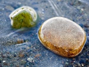 Two stones in the water